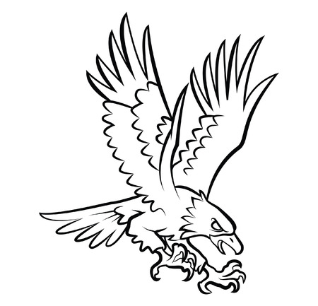 Eagle Tattoo Vector Illustration Çizim