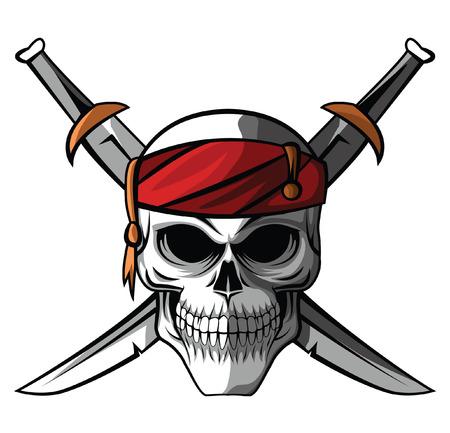 Schedel van de piraat Stock Illustratie