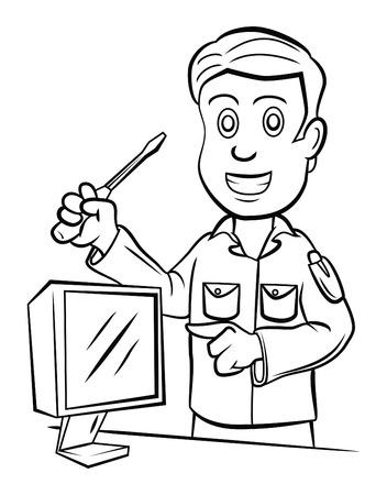 heating engineers: Technician Illustration