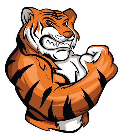 animal tracks: Tiger Mascot Illustration