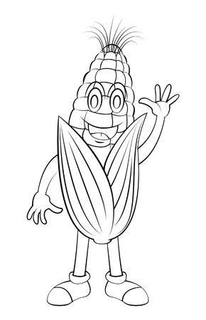 Corn Cartoon Character 向量圖像