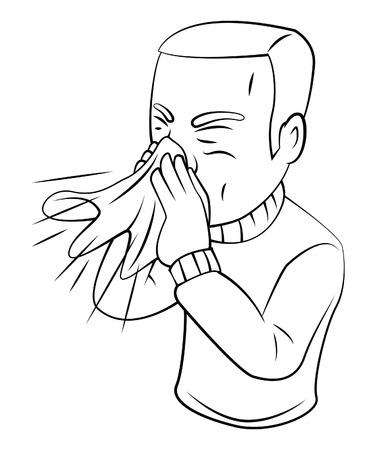blowing nose: sneezing Illustration