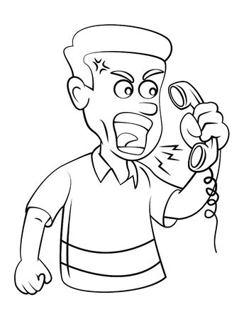 Man Angry With Telephone Vector
