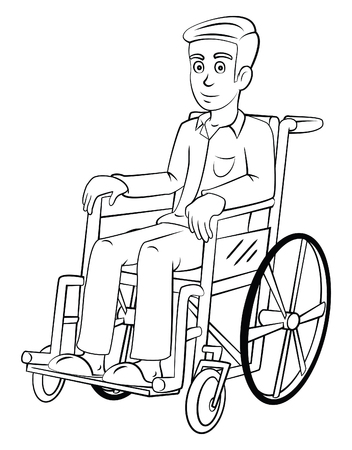 special needs: Man With Wheelchair Illustration