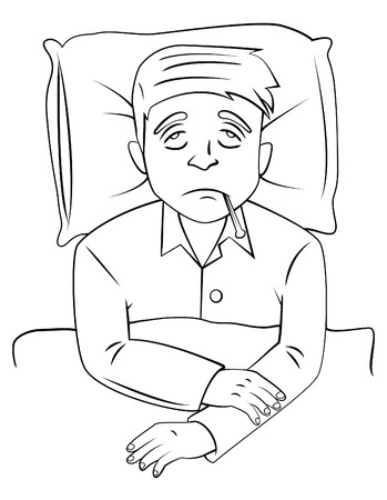 fever man sick on bed Vector