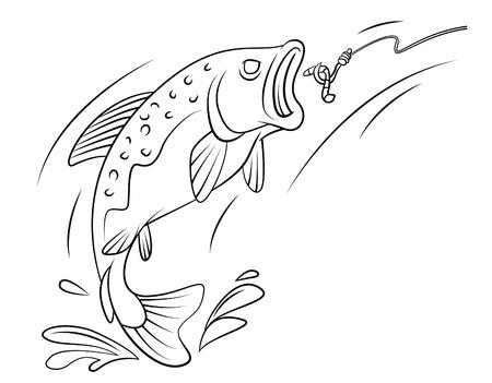 bass fishing: Fishing Trout Fish Illustration