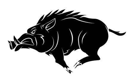 Wildschwein: Wildschwein Tattoo-Maskottchen Illustration