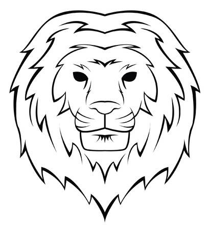 Lion Head Tattoo Illustration Vector