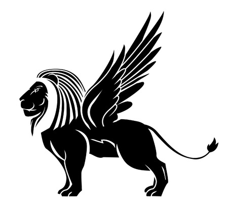 winged lion: león ala tatuaje