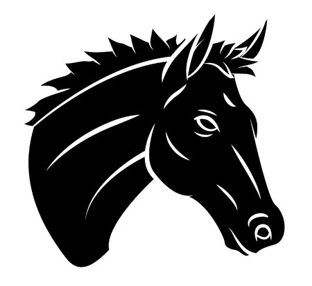 black and white farm: Head Horse Illustration