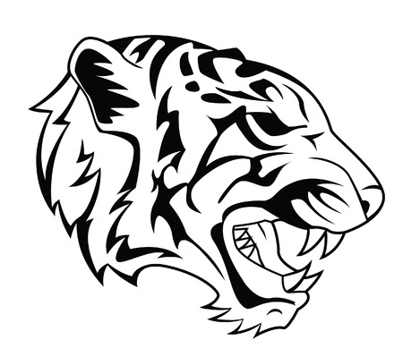 tigre blanc: Tattoo Tiger Head Illustration