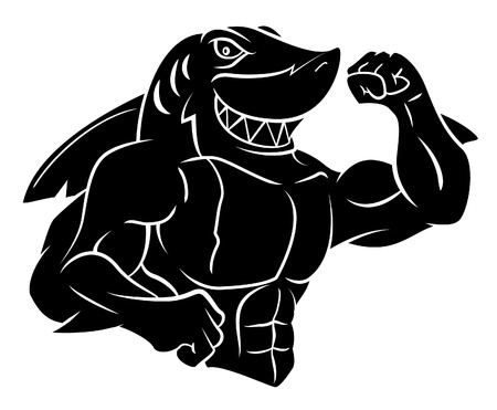 great white shark: Shark tattoo Illustration