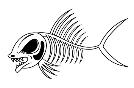 skull and bones: fish skeleton Illustration