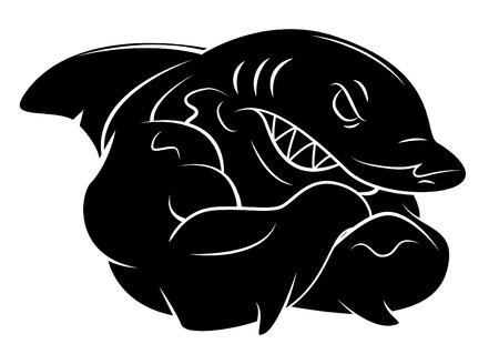 tribal art: Shark tattoo Illustration