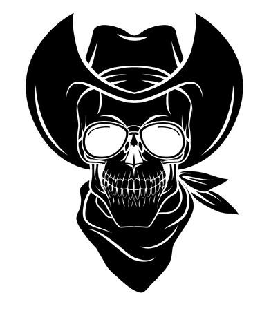 Skull cowboy Warrior vector illustration Vector