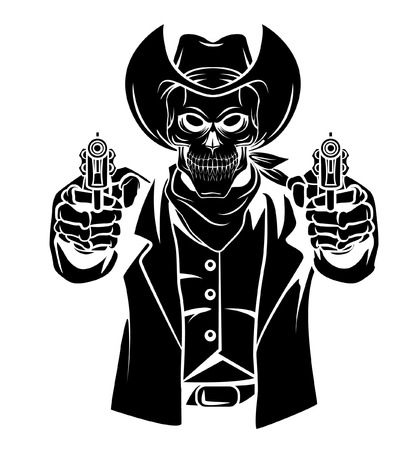 cowboy cartoon: Cowboy Skull Vector Illustration