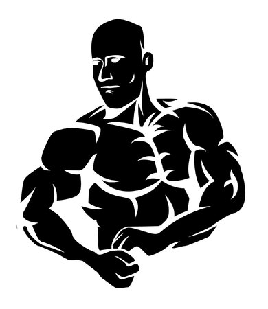 body building exercises: Body Builder Illustration