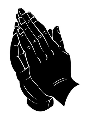 hand with dumbbell: Praying Hand Illustration