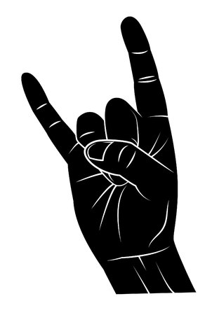 te negro: La mano del metal Vectores