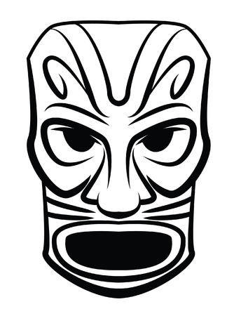 tiki head: Totem Mask Illustration