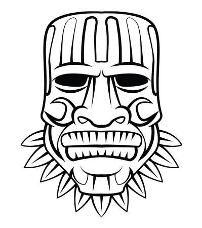 cultura maya: M�scara Totem Vectores