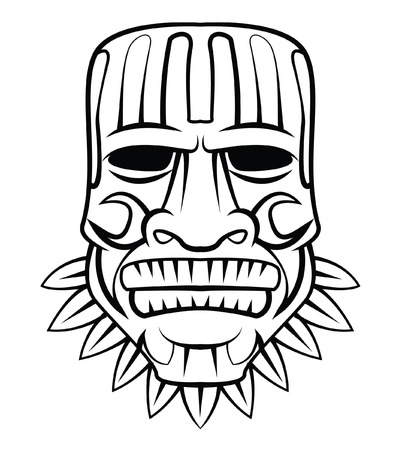 hawaiian culture: Totem Mask Illustration