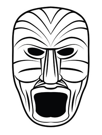 Totem Máscara Negro Silhoutte De Ilustraciones Vectoriales, Clip Art ...