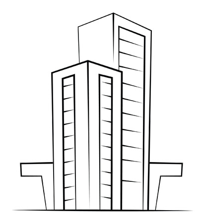 Black And White Buildings Illustration