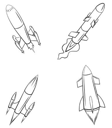 rocket launch: lanzamiento de un cohete Set Collection Vectores