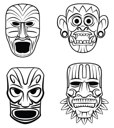 Totem Mask Set Collection Vector