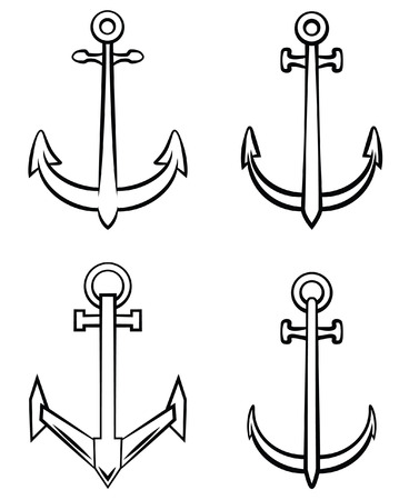 Black and White Anchor Set Collection Vector