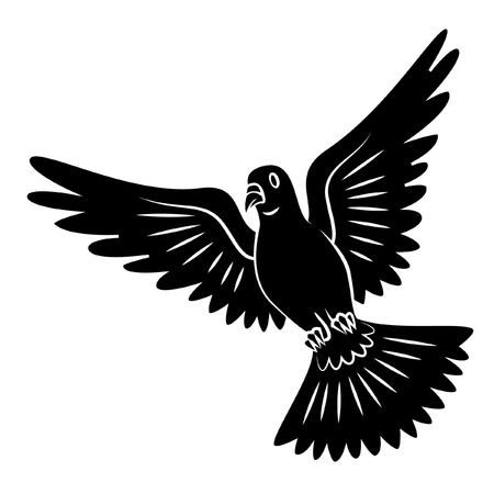 paloma volando: Negro Silueta De Dove Flying