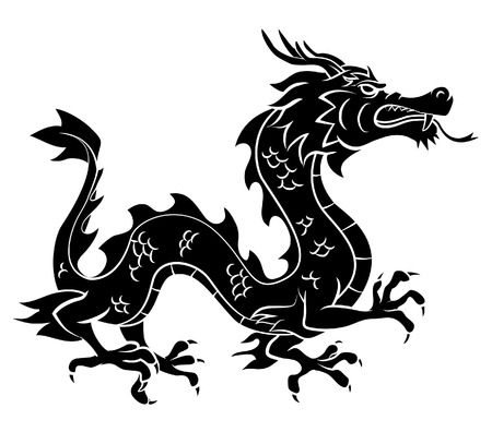 chinese new year dragon: Black Silhouette Of Dragon Illustration