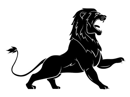 angry animal: Black Silhouette Of Lion Illustration