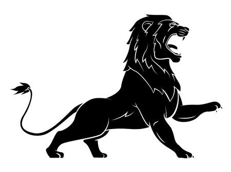 mountain lions: Black Silhouette Of Lion Illustration
