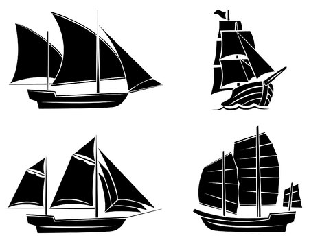 Black Silhouette Collection Of Ship Symbol