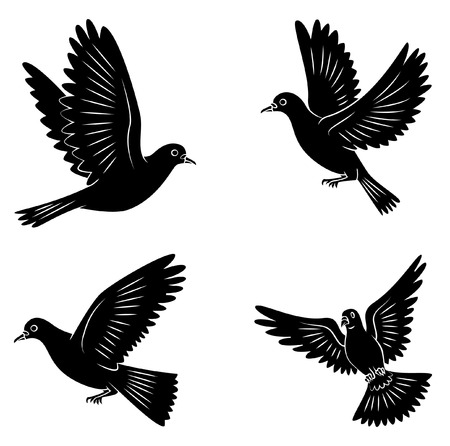 Black Silhouette Collection Of Peace Dove Symbol