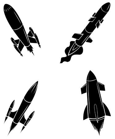 rocket launch: Negro Silueta Colecci�n De lanzamiento de cohetes Vectores