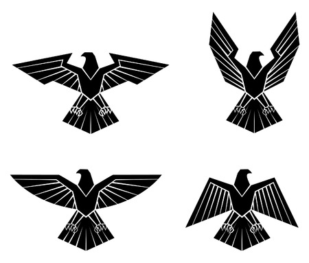 Black Silhouette Collection Of Eagle Symbol Ilustracja