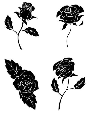 preto: Coleção preta Silhueta De Rose Flor Ilustração