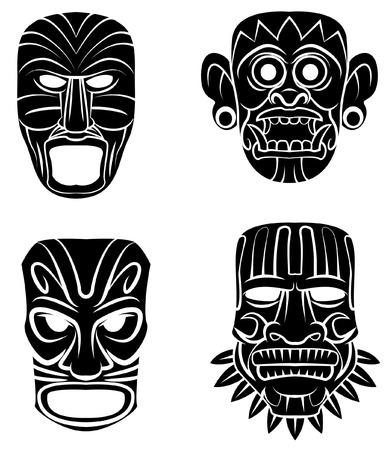 Negro Silueta Colección De Máscara Totem