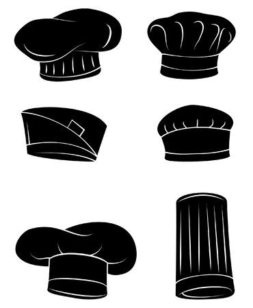 Negro Silueta Colección De Chef sombrero Foto de archivo - 35688429