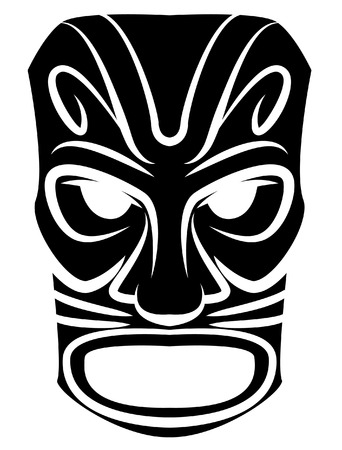 hawaiian culture: Totem Mask Black Silhoutte Of