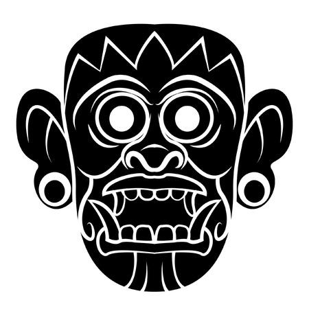 cultura maya: Totem M�scara Negro Silhoutte De