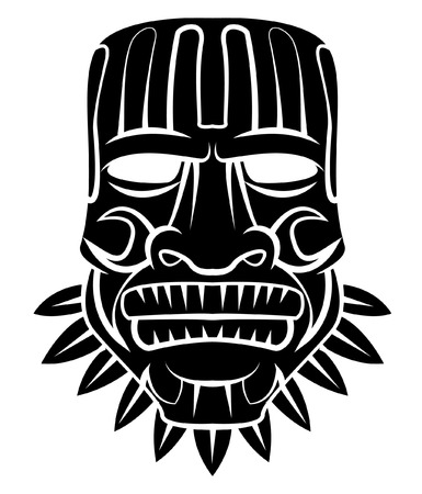 african mask: Totem Mask Black Silhoutte Of