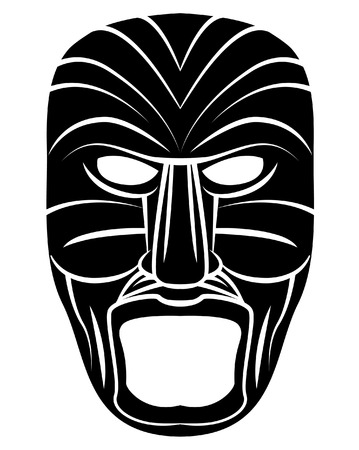 Totem Mask Black Silhoutte Of Vector