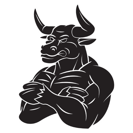 Bull Strong Mascot Tattoo Vector