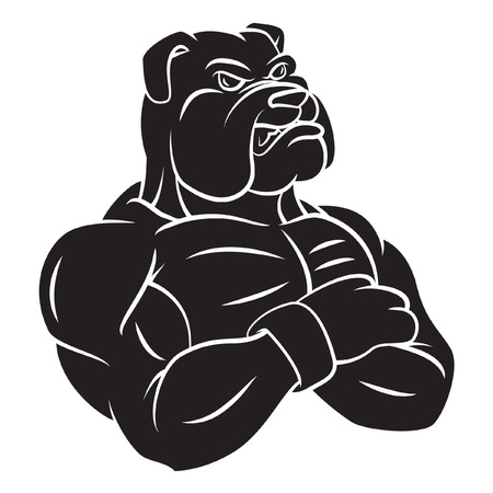 black and white pit bull: Bulldog strong mascot Tattoo Illustration