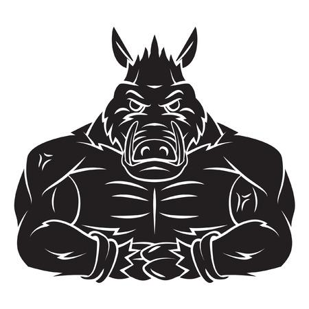 Wild Boar Strong Mascot Tattoo Vector