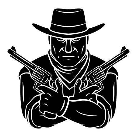 Cowboy Mascot Tattoo Vector